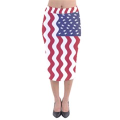 American Flag Velvet Midi Pencil Skirt by OneStopGiftShop
