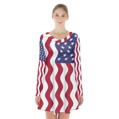 American Flag Long Sleeve Velvet V Neck Dress by OneStopGiftShop