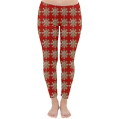 Snowflakes Square Red Background Classic Winter Leggings