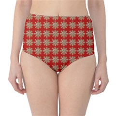 Snowflakes Square Red Background High Waist Bikini Bottoms