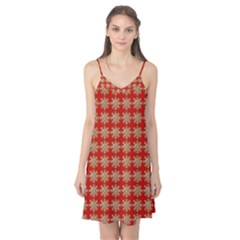 Snowflakes Square Red Background Camis Nightgown by Nexatart
