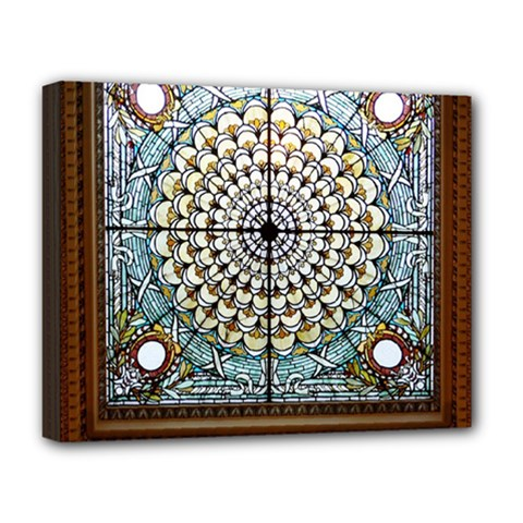 Stained Glass Window Library Of Congress Deluxe Canvas 20  X 16   by Nexatart