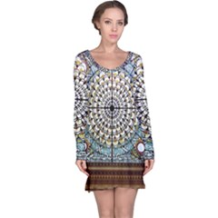 Stained Glass Window Library Of Congress Long Sleeve Nightdress by Nexatart