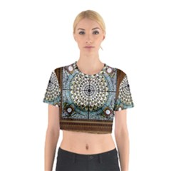 Stained Glass Window Library Of Congress Cotton Crop Top by Nexatart