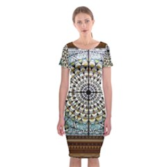 Stained Glass Window Library Of Congress Classic Short Sleeve Midi Dress by Nexatart