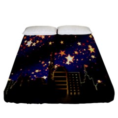 Star Advent Christmas Eve Christmas Fitted Sheet (California King Size)