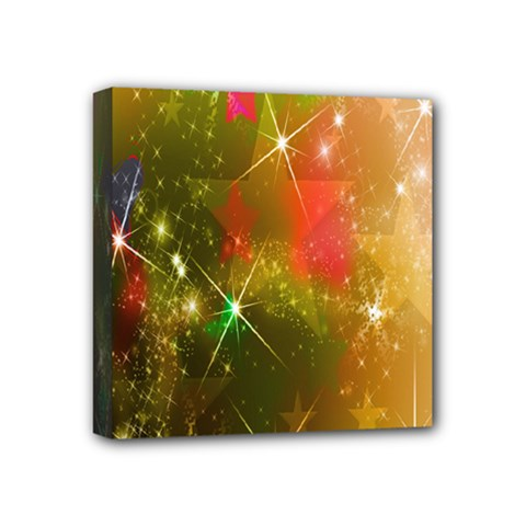 Star Christmas Background Image Red Mini Canvas 4  X 4