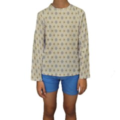 Star Basket Pattern Basket Pattern Kids  Long Sleeve Swimwear
