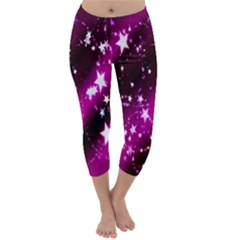 Star Christmas Sky Abstract Advent Capri Winter Leggings  by Nexatart