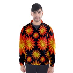 Stars Patterns Christmas Background Seamless Wind Breaker (Men) by Nexatart