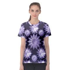 Stars Patterns Christmas Background Seamless Women s Sport Mesh Tee