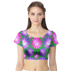 Stars Patterns Christmas Background Seamless Short Sleeve Crop Top (tight Fit)