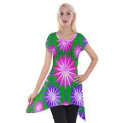 Stars Patterns Christmas Background Seamless Short Sleeve Side Drop Tunic by Nexatart