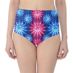 Stars Patterns Christmas Background Seamless High Waist Bikini Bottoms