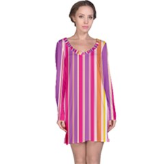 Stripes Colorful Background Pattern Long Sleeve Nightdress