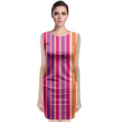 Stripes Colorful Background Pattern Classic Sleeveless Midi Dress