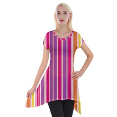 Stripes Colorful Background Pattern Short Sleeve Side Drop Tunic by Nexatart
