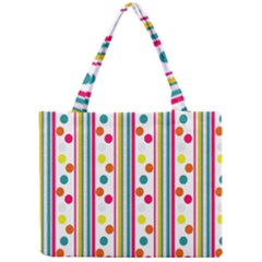 Stripes Polka Dots Pattern Mini Tote Bag
