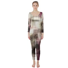 Stylized Rose Pattern Paper, Cream And Black Long Sleeve Catsuit by Nexatart