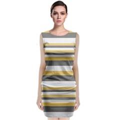 Textile Design Knit Tan White Classic Sleeveless Midi Dress