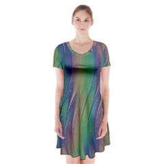 Texture Abstract Background Short Sleeve V Neck Flare Dress by Nexatart