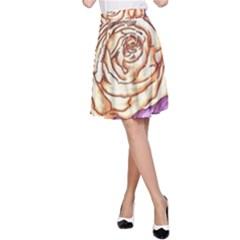 Texture Flower Pattern Fabric Design A Line Skirt