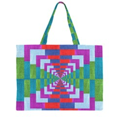 Texture Fabric Textile Jute Maze Zipper Large Tote Bag