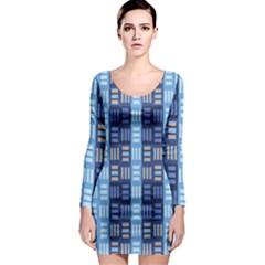 Textile Structure Texture Grid Long Sleeve Bodycon Dress