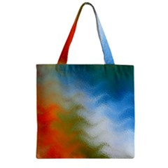 Texture Glass Colors Rainbow Zipper Grocery Tote Bag by Nexatart