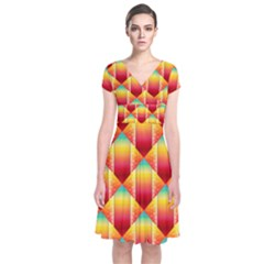 The Colors Of Summer Short Sleeve Front Wrap Dress by Nexatart