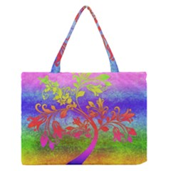 Tree Colorful Mystical Autumn Medium Zipper Tote Bag by Nexatart