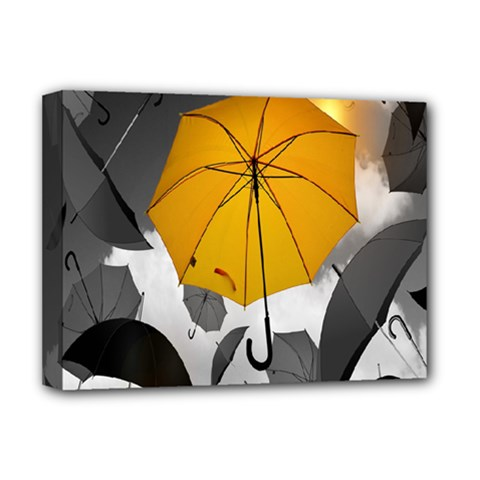 Umbrella Yellow Black White Deluxe Canvas 16  X 12