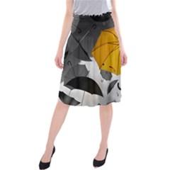 Umbrella Yellow Black White Midi Beach Skirt by Nexatart