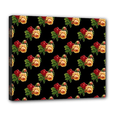 Vintage Roses Wallpaper Pattern Deluxe Canvas 24  X 20