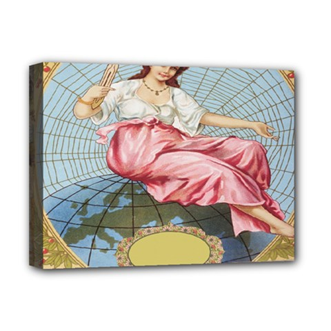 Vintage Art Collage Lady Fabrics Deluxe Canvas 16  x 12