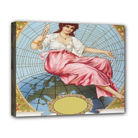 Vintage Art Collage Lady Fabrics Deluxe Canvas 20  x 16