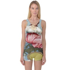 Vintage Art Collage Lady Fabrics One Piece Boyleg Swimsuit