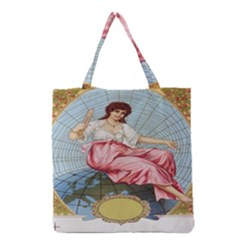 Vintage Art Collage Lady Fabrics Grocery Tote Bag
