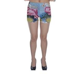 Vintage Art Collage Lady Fabrics Skinny Shorts