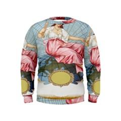 Vintage Art Collage Lady Fabrics Kids  Sweatshirt