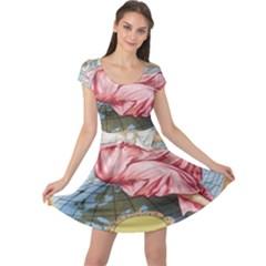 Vintage Art Collage Lady Fabrics Cap Sleeve Dresses