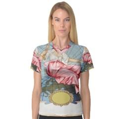 Vintage Art Collage Lady Fabrics Women s V-Neck Sport Mesh Tee