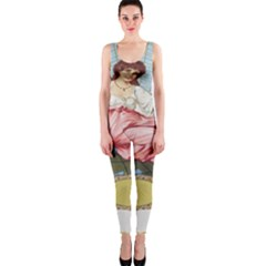 Vintage Art Collage Lady Fabrics OnePiece Catsuit