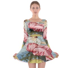 Vintage Art Collage Lady Fabrics Long Sleeve Skater Dress