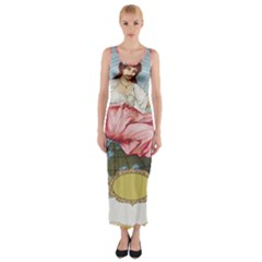 Vintage Art Collage Lady Fabrics Fitted Maxi Dress