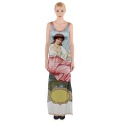 Vintage Art Collage Lady Fabrics Maxi Thigh Split Dress