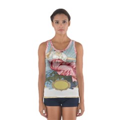 Vintage Art Collage Lady Fabrics Women s Sport Tank Top  by Nexatart