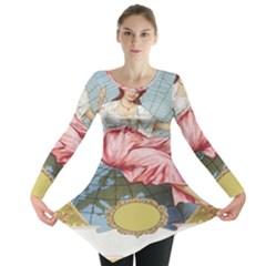 Vintage Art Collage Lady Fabrics Long Sleeve Tunic