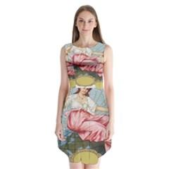 Vintage Art Collage Lady Fabrics Sleeveless Chiffon Dress