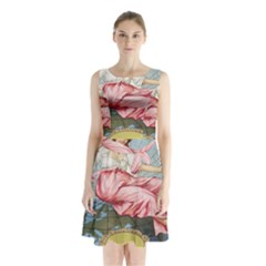 Vintage Art Collage Lady Fabrics Sleeveless Chiffon Waist Tie Dress